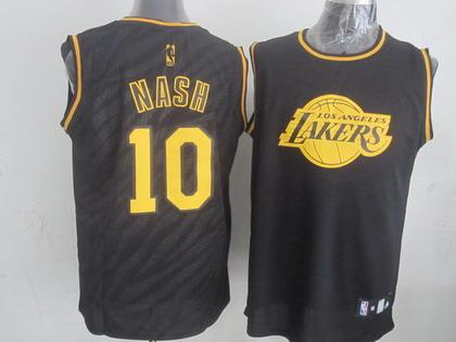 934b324d7e1 ... Los Angeles Lakers 10 Steve Nash Revolution 30 Swingman 2014 Black With  Gold Jersey ...
