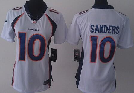 nike denver broncos 10 emmanuel sanders 2013 white limited womens jersey