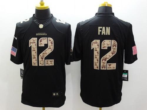 nike seattle seahawks 12 fan salute to service black limited jersey nike seattle seahawks jersey 3 russell wilson 2015 super bowl xlix