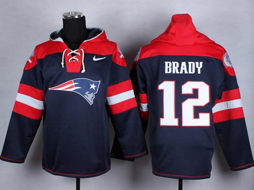 1506ba01f ... Nike New England Patriots 12 Tom Brady 2014 Blue Hoodie New England  Patriots 12 Tom Brady Blue Super Bowl XLIX Sawyer Hooded Sweatshirt NFL ...