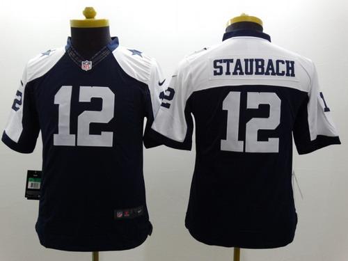 Nike Dallas Cowboys  12 Roger Staubach Blue Thanksgiving Limited Kids Jersey 563bc9b04