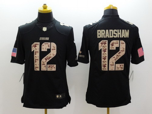 840cbbf67 Nike Pittsburgh Steelers  12 Terry Bradshaw Salute to Service Black Limited  Jersey
