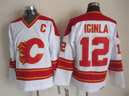 Calgary Flames #12 Jarome Iginla White Throwback CCM Jersey