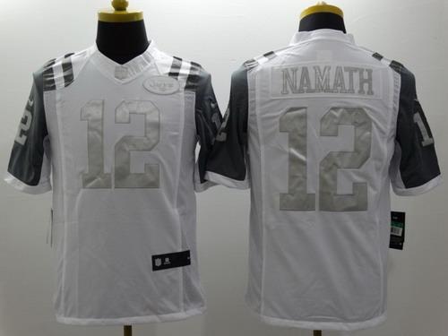 ... Salute to Service NFL Nike New York Jets 12 Joe Namath Platinum White  Limited Jersey ... 64ea7c740