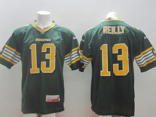 CFL Edmonton Eskimos #13 Mike Reilly Green Jersey