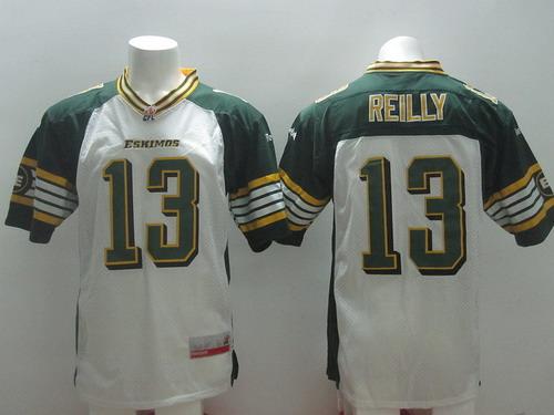 CFL Edmonton Eskimos #13 Mike Reilly White Jersey