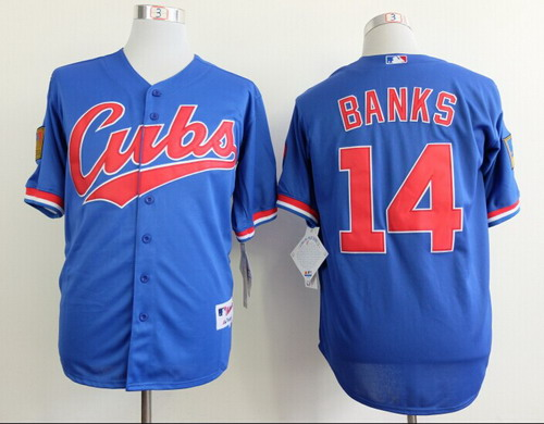 new style 459a9 96f81 ebay chicago cubs 14 ernie banks blue throwback jersey a6be7 ...