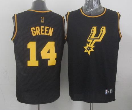 aea7c3651192 San Antonio Spurs  14 Danny Green Revolution 30 Swingman 2014 Black With  Gold Jersey