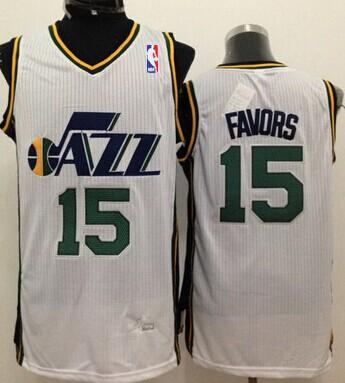 ... New Revolution 30 Swingman White Jersey Utah Jazz 15 Derrick Favors  White Swingman Jersey NBA ... 919e1600d