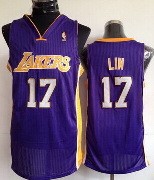 ef3e9736a88 Hollywood Nights Stitched Los Angeles Lakers 17 Jeremy Lin Purple Swingman  Jersey ...