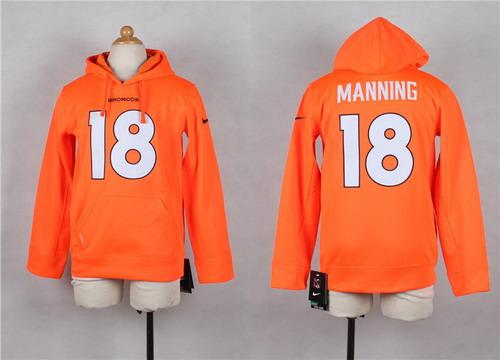 Nike Denver Broncos #18 Peyton Manning Orange Kids Hoodie