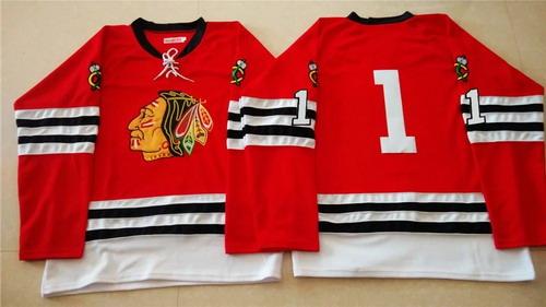 ... Hockey Jersey Chicago Blackhawks 1 Glenn Hall 1960-61 Red Vintage Jersey  ... 269b1af1e