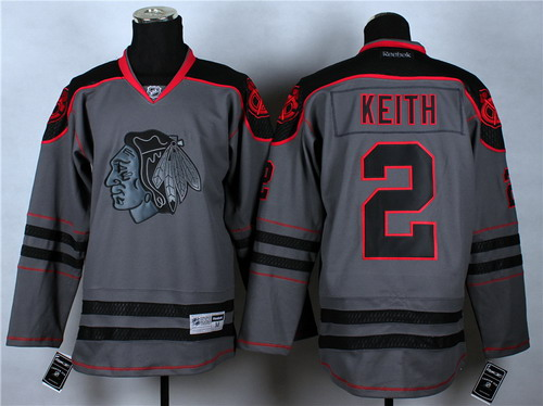 d641f2fcc ... Chicago Blackhawks 2 Duncan Keith Charcoal Gray Jersey ...