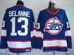 newest 61bcf 81377 Winnipeg Jets #13 Teemu Selanne White Throwback CCM Jersey ...