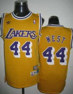 9c0c68cde3c Los Angeles Lakers 44 Jerry West Yellow Swingman Throwback Jersey ...