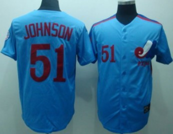 Montreal Expos #51 Randy Johnson 1982 Blue Throwback Jersey