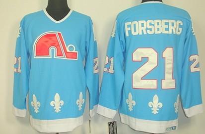 Quebec Nordiques #21 Peter Forsberg Light Blue Throwback CCM Jersey