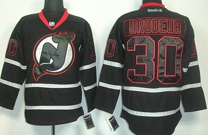 New Jersey Devils #30 Martin Brodeur Black Ice Jersey