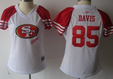 f34bb6611 ... San Francisco 49ers 85 Vernon Davis 2011 White Womens Field Flirt  Fashion Jersey ...
