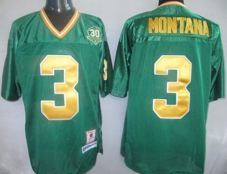 ... Notre Dame Fighting Irish 3 Joe Montana Green Throwback Jersey ...