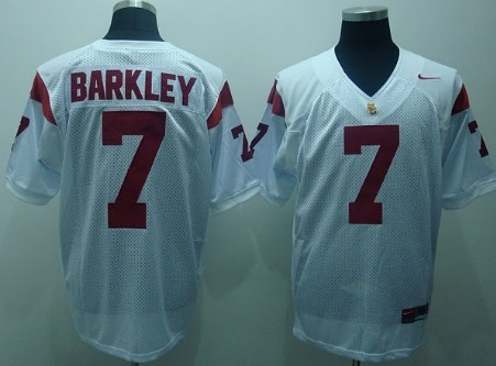 USC Trojans #7 Matt Barkley White Jersey