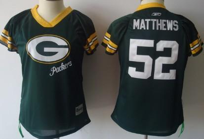 a6dec2ebf Green Bay Packers #52 Clay Matthews 2011 Green Womens Field Flirt Fashion  Jersey
