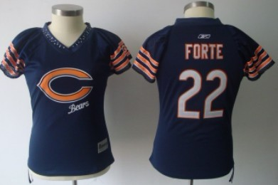 nfl elite handwork sequin chicago bears 22 matt forte 2011 blue womens field flirt fashion jersey