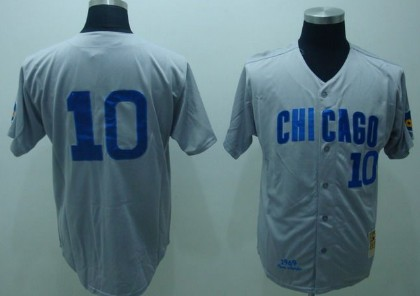 chicago cubs 10 ron santo 1969 gray throwback jersey .