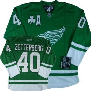 ... NHL Jersey Detroit Red Wings 40 Henrik Zetterberg St. Patricks Day Green  Jersey . 3f5640bf2