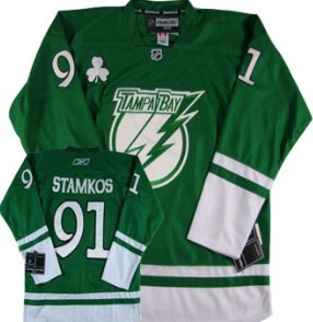 youth nhl jersey tampa bay lightning 91 steven stamkos st. patricks day green jersey