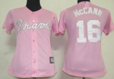 sale retailer 4f8d7 0ca5b atlanta braves 16 mccann pink with white womens jersey