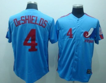 Montreal Expos #4 Delino DeShields 1982 Blue Throwback Jersey