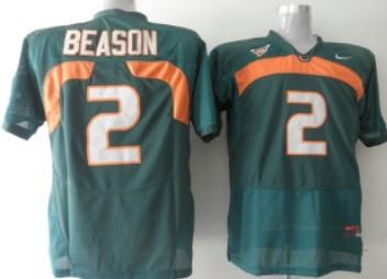 Miami Hurricanes #2 Jon Beason Green Jersey