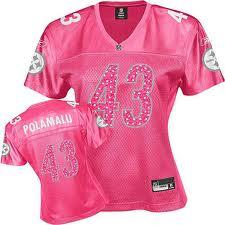 Pittsburgh Steelers  43 Troy Polamalu Pink Fem Fan Womens Jersey on ... 68d7afe65