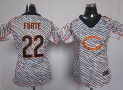 nike chicago bears 22 matt forte 2012 womens zebra fashion jersey