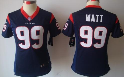 Nike Houston Texans  99 J.J. Watt Blue Limited Womens Jersey on sale ... 0fa7e2b1a