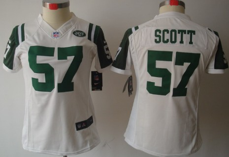 Nike New York Jets #57 Bart Scott White Limited Womens Jersey