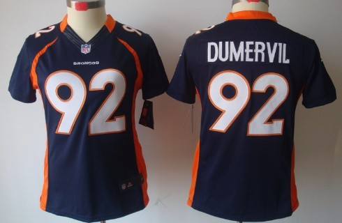 3495ed16 Nike Denver Broncos #92 Elvis Dumervil Blue Limited Womens Jersey on ...