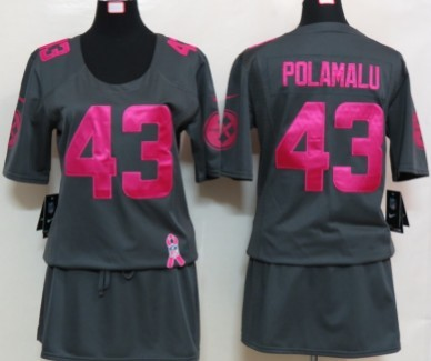 c2ebce497 Nike Pittsburgh Steelers  43 Troy Polamalu Breast Cancer Awareness Gray Womens  Jersey