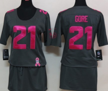 Nike San Francisco 49ers  21 Frank Gore Breast Cancer Awareness Gray Womens  Jersey ea110ac33
