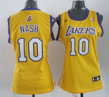 51a68e79a ... Fashion Jersey Los Angeles Lakers 10 Steve Nash Yellow Womens Jersey ...