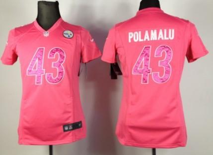 ... Nike Pittsburgh Steelers 43 Troy Polamalu Pink Sweetheart Diamond Womens  Jersey ... a78b60c3b