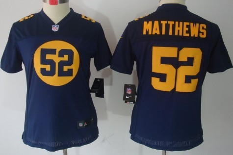 4caa2c18984 Nike Green Bay Packers  52 Clay Matthews Navy Blue Limited Womens Jersey