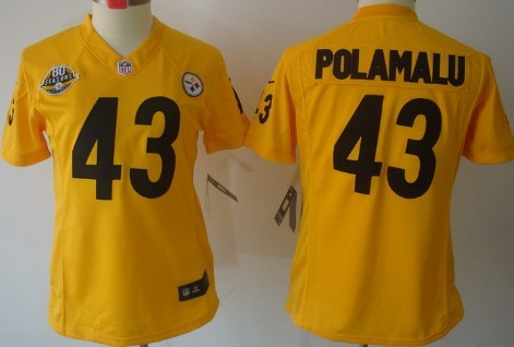 c0949af34 nike pittsburgh steelers 43 troy polamalu yellow limited womens 80th jersey