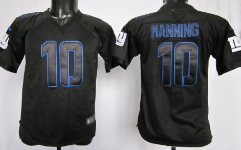nike new york giants 10 eli manning black impact limited kids jersey