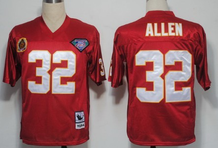 sports shoes 99493 8ad12 kansas city chiefs 32 marcus allen red 75th throwback jersey