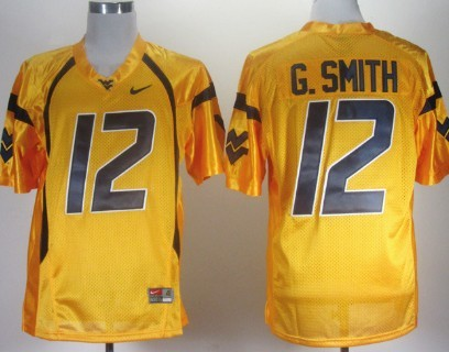 West Virginia Mountaineers #12 Geno Smith Yellow Jersey