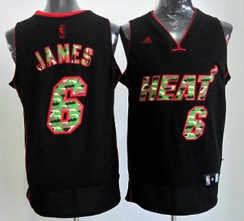 ... Miami Heat 6 LeBron James Black Camo Fashion Jersey ... 030870f0a