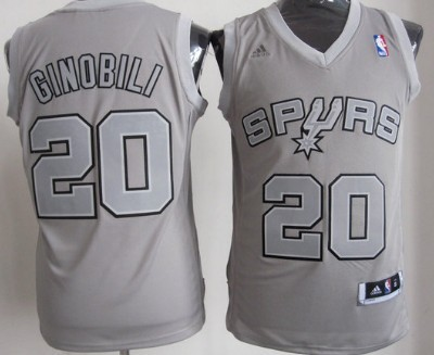 a8a180188b6 San Antonio Spurs #20 Manu Ginobili Revolution 30 Swingman Gray Big Color  Jersey