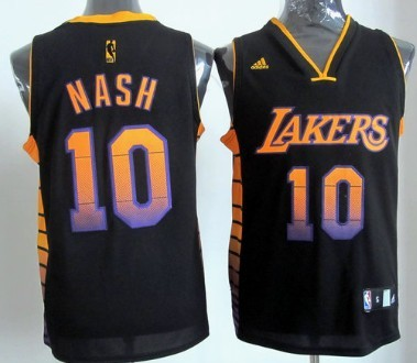 d8df6ad0d ... Pinstripe Jersey Los Angeles Lakers 10 Steve Nash 2012 Vibe Black  Fashion Jersey ...